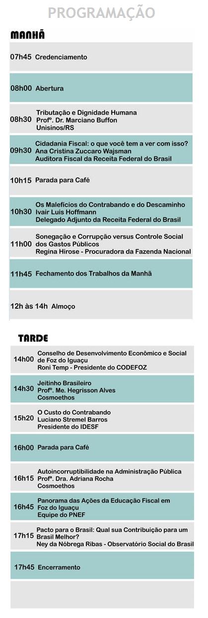 Seminário Foz do Iguaçu programação