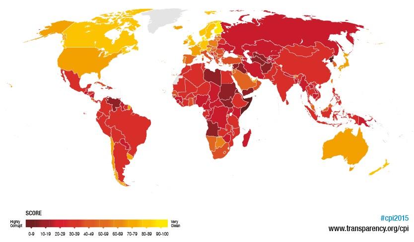 Quanto mais escura a cor, maior a percepção de corrupção. Clique na imagem para ampliá-la